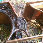 antique wooden school desks