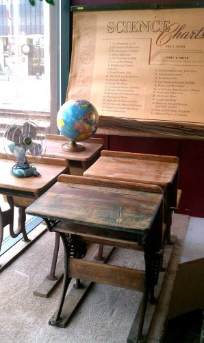 antique wooden school desks window fargo antiques on broadway