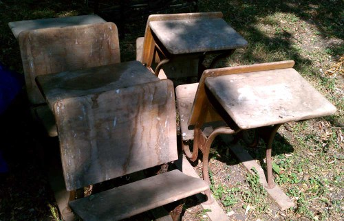 farm fresh dirty antique school desks