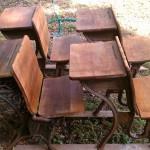 oiled antique school desks chairs