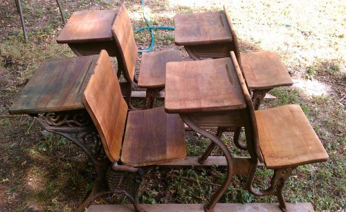 oiled antique school desks chairs