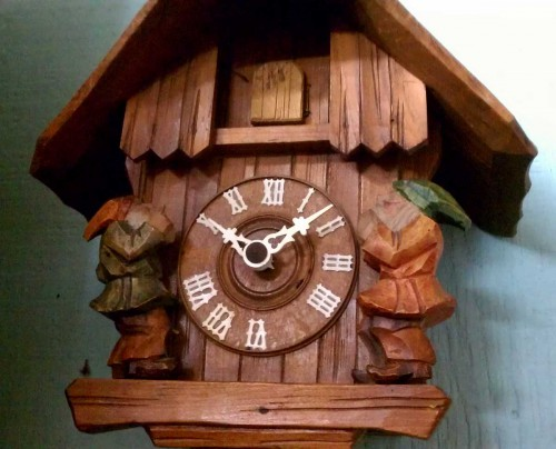 old german austrian cuckoo clock with gnomes