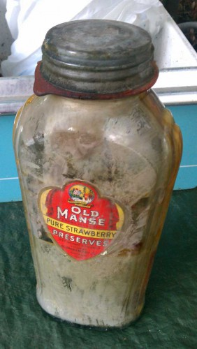 vintage old manse preserves bottle jar