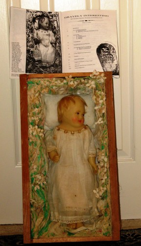 GRAVE DOLL WAX EFFIGY 1860 WITH BOOK