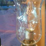antique hand blown hand etched lamp chimney