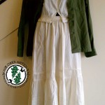 mixing prairie skirts and antiwue corset covers with vintage military clothing