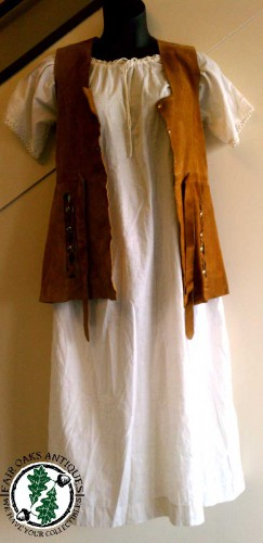 victorian prairie shift with suede vest