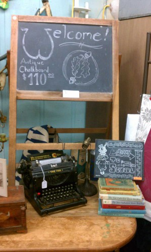 back to school antiques chalkboard fox typewriter