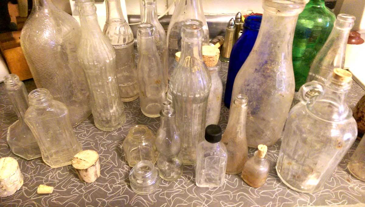 Old Glass Bottles Part - 30: Vintage Antique Glass Bottles Dug From Dirt Making Spirit Bottles