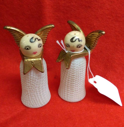kitschy retro vintage angel salt and pep shakers