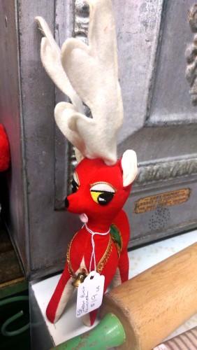 vintage retro sawdust stuffed reindeer plush