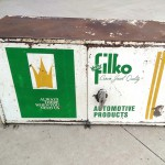 vintage metal filko crown jewel automotive products service station wall unit box