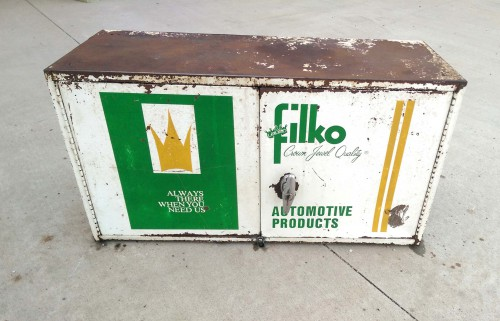 vintage metal filko crown jewel automotive products service station wall unit box