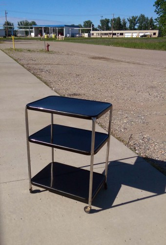 vintage metal three tier shelf rolling cart black