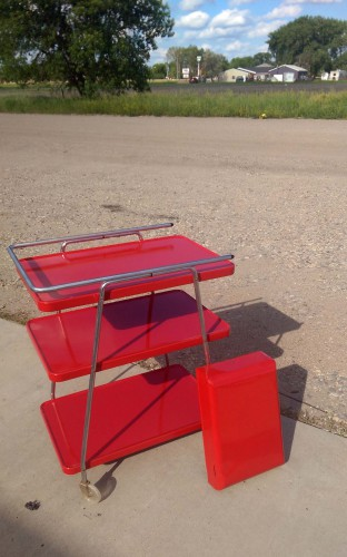 vintage mid century modern three tier red rolling cart and red industrial paper towel holder