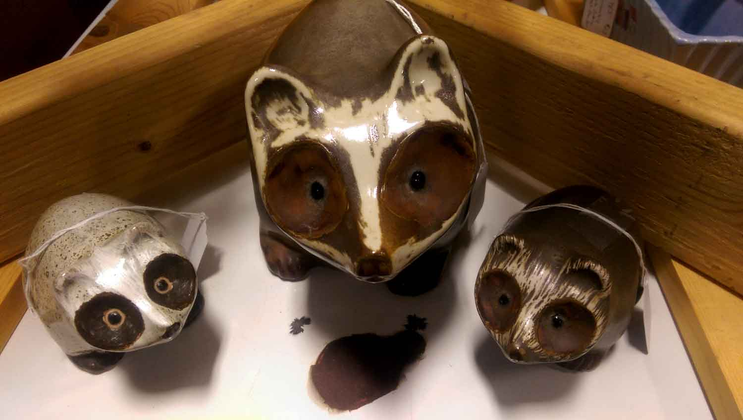 Pigeon Forge Pottery Raccoons