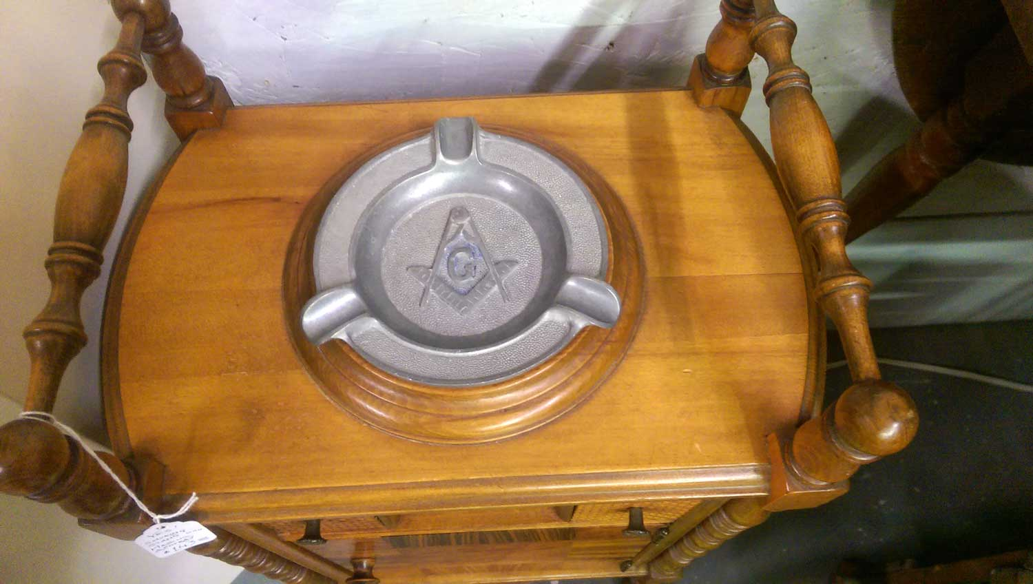 Handsome Vintage Wooden Smoking Stand Humidor with Freemasons Ashtray