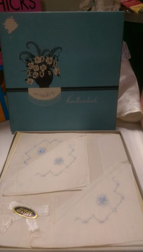 vintage boxed white hankies with blue embroidery