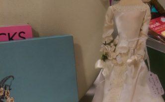 vintage bride doll in silk dress silk chiffon veil