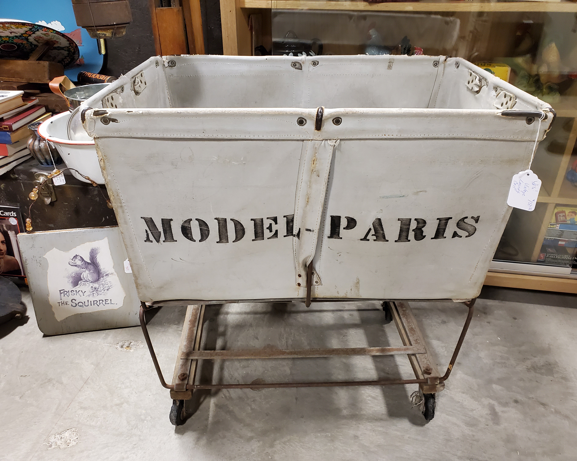 Vintage Canvas Model Paris Laundry Cart