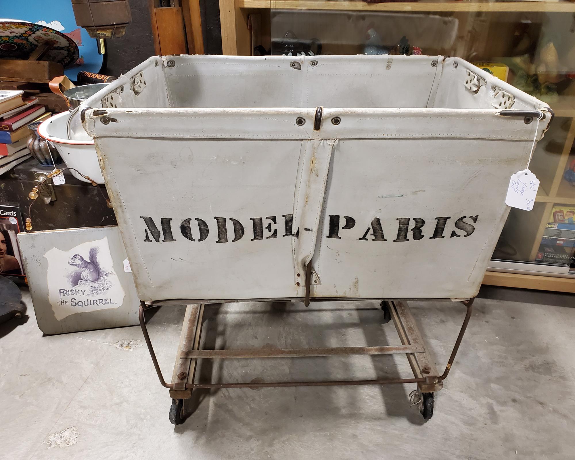 Vintage Canvas Model Paris Laundry Cart
