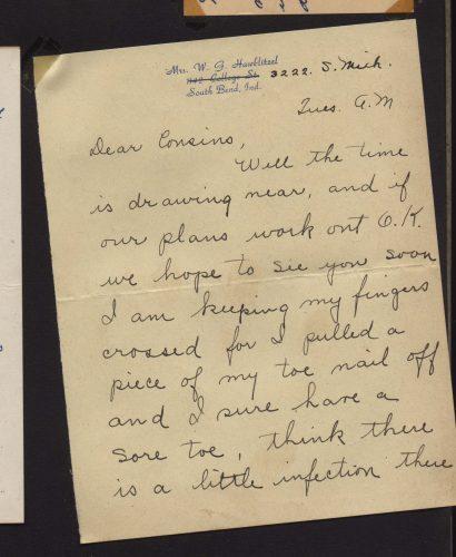 Dear Cousins - icky toe letter