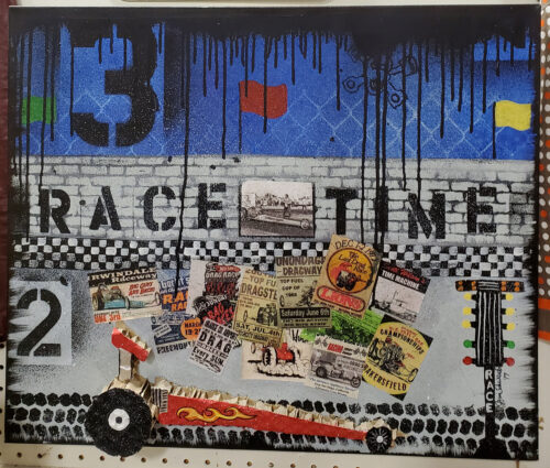 race time mixed media car art